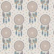 Lewis & Irene To Catch a Dream - 5024 - Taupe & Teal Dream Catchers - A172.1 - Cotton Fabric